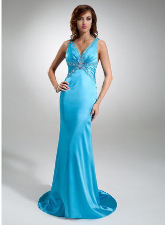 Trumpet/Mermaid V-neck Sweep Train Prom Dresses With Ruffle Beading