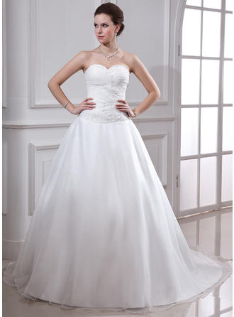 Ball-Gown Chapel Train Wedding Dress With Ruffle Beading