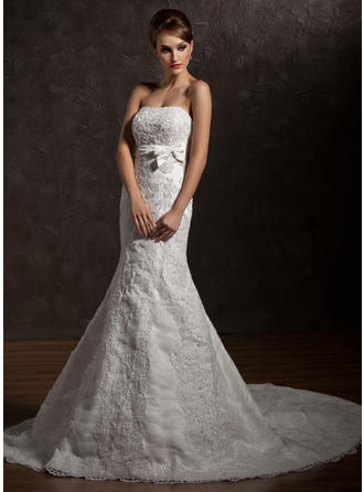Sexy Chapel Train Trumpet/Mermaid Wedding Dresses Strapless Organza Sleeveless