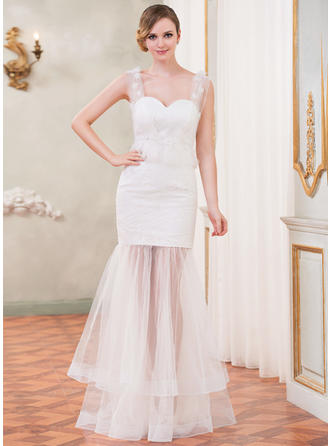 Chic Floor-Length Trumpet/Mermaid Wedding Dresses Sweetheart Tulle Lace Sleeveless