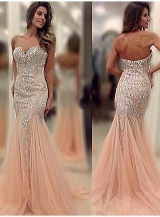 Tulle Sleeveless Trumpet/Mermaid Prom Dresses Sweetheart Beading Sweep Train