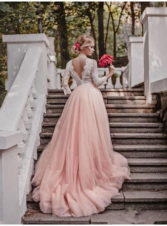 Ball-Gown Tulle 3/4 Length Sleeves V-neck Court Train Wedding Dresses