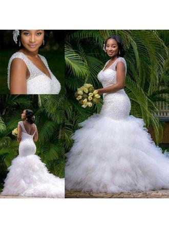 blue and white mermaid wedding dresses
