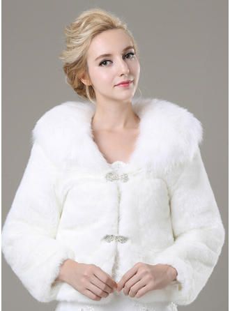 Wrap Fashion Faux Fur Long Sleeve With Rhinestones Wraps
