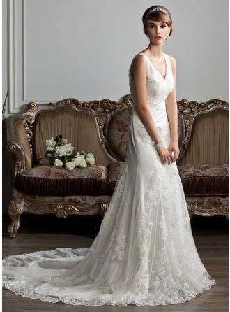 Court Train Sleeveless Trumpet/Mermaid - Tulle Wedding Dresses