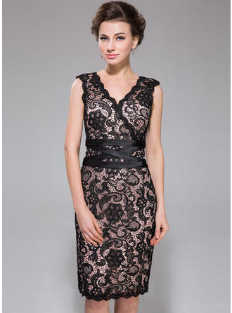Sheath/Column V-neck Charmeuse Lace Sleeveless Knee-Length Cocktail Dresses