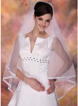 Fingerspitze Braut Schleier Tüll Zweischichtig Klassische Art mit Spitze Saum Brautschleier (006020362)