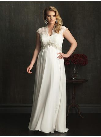 Empire V-neck Court Train Wedding Dresses With Lace Beading Appliques Lace
