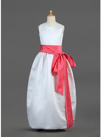 Ball Gown Scoop Neck Floor-length With Sash/Bow(s) Satin Flower Girl Dress