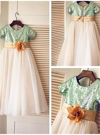 Scoop Neck A-Line/Princess Flower Girl Dresses Tulle/Sequined Flower(s) Short Sleeves Ankle-length