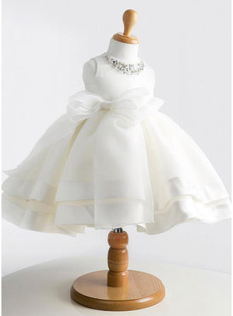 Simple Knee-length Ball Gown Flower Girl Dresses Scoop Neck Satin/Tulle Sleeveless