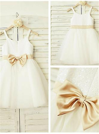 Delicate A-Line/Princess Flower Girl Dresses Knee-length Scoop Neck Sleeveless