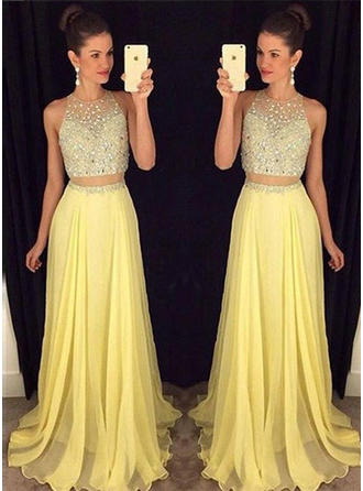 A-Line/Princess Scoop Neck Chiffon Sleeveless Floor-Length Beading Evening Dresses