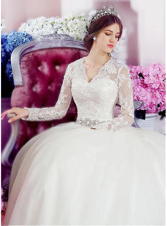 Flattering Chapel Train A-Line/Princess Wedding Dresses V-neck Tulle Long Sleeves (002148078)