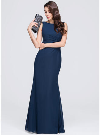 Sheath/Column Scoop Neck Floor-Length Chiffon Evening Dress With Ruffle