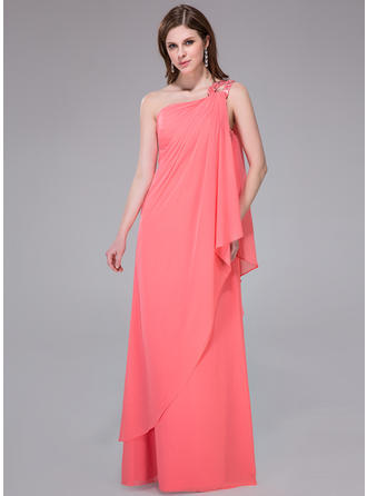 Sheath/Column One-Shoulder Floor-Length Chiffon Prom Dress With Beading Sequins Cascading Ruffles