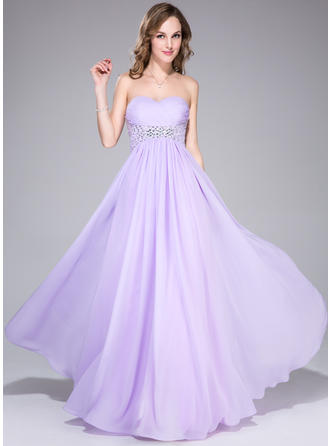 Glamorous Empire Chiffon Floor-Length Sleeveless Prom Dresses