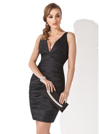 Sheath/Column V-neck Satin Sleeveless Short/Mini Ruffle Cocktail Dresses