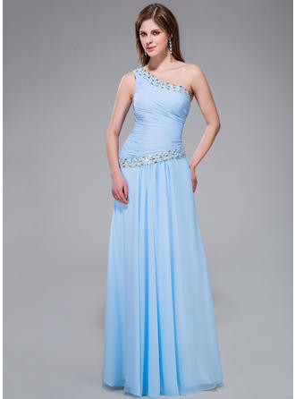 Newest One-Shoulder A-Line/Princess Chiffon Evening Dresses