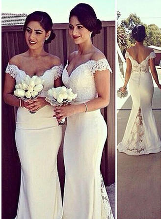 Trumpet/Mermaid Satin Bridesmaid Dresses Off-the-Shoulder Sleeveless Sweep Train