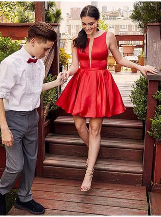 Ruffle Scoop Neck Satin A-Line/Princess Homecoming Dresses (022219337)