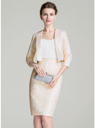 Sheath/Column Scoop Neck Chiffon Lace Sleeveless Knee-Length Ruffle Beading Sequins Mother of the Bride Dresses