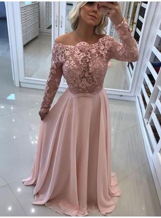 A-Line/Princess Chic Floor-Length Off-the-Shoulder Long Sleeves