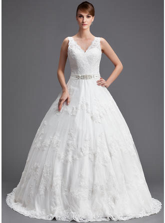 Ball-Gown Chapel Train Wedding Dress With Beading Appliques Lace Sequins