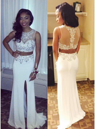 Scoop Neck A-Line/Princess Chiffon Sleeveless Princess Prom Dresses