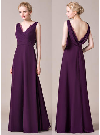 Chiffon Sleeveless A-Line/Princess Bridesmaid Dresses V-neck Ruffle Lace Floor-Length