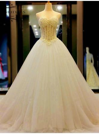 Newest Court Train Ball-Gown Wedding Dresses Sweetheart Tulle Sleeveless