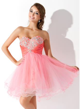 A-Line/Princess Short/Mini Tulle Sweetheart Homecoming Dresses