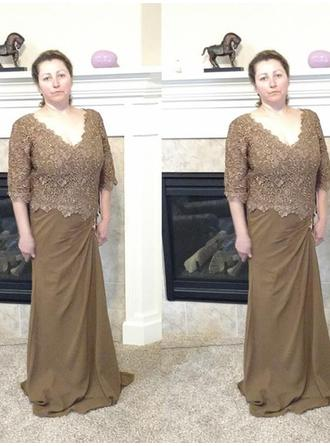A-Line/Princess V-neck Chiffon Simple Mother of the Bride Dresses