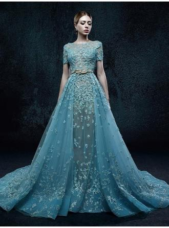A-Line/Princess Scoop Neck Sweep Train Evening Dress With Appliques Lace