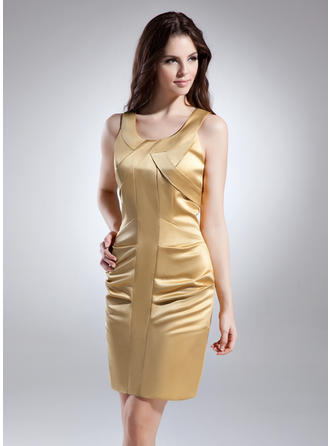 Sheath/Column Scoop Neck Short/Mini Satin Cocktail Dress