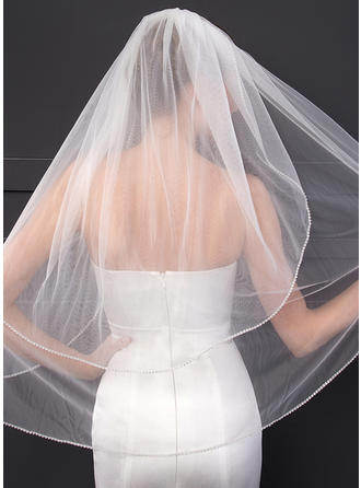 Two-tier Cut Edge Elbow Bridal Veils With Rhinestones