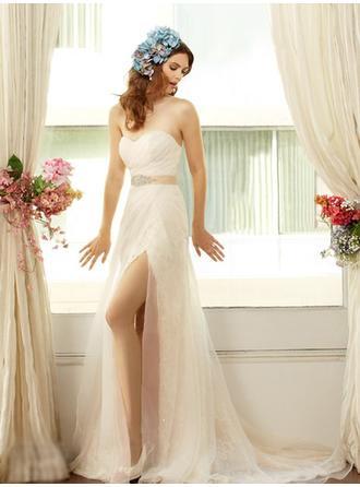 Empire Sweetheart Court Train Wedding Dresses With Sash Beading Bow(s)
