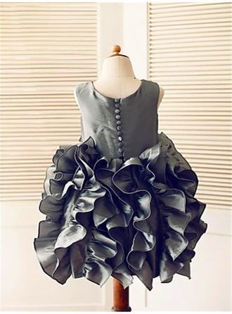 Mode Wadenlang Duchesse-Linie Blumenmädchenkleider U-Ausschnitt Taft Ärmellos (010211855)