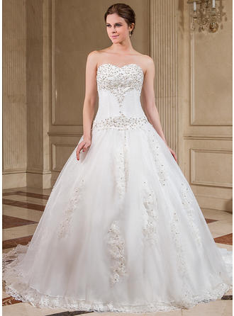 Ball-Gown Chapel Train Wedding Dress With Lace Beading