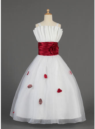 A-Line/Princess Scalloped Neck Floor-length With Ruffles/Sash/Flower(s)/Bow(s) Organza/Charmeuse Flower Girl Dresses
