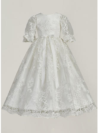 Tulle Scoop Neck Lace Baby Girl's Christening Gowns With 3/4 Sleeves