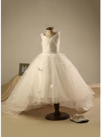 Scoop Neck Ball Gown Flower Girl Dresses Organza Beading/Pleated Sleeveless Knee-length