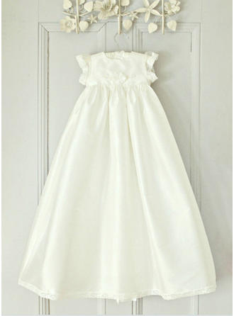 Scoop Neck A-Line/Princess Flower Girl Dresses Satin Lace Short Sleeves Ankle-length (010216582)