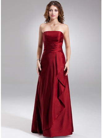 Taffeta Sleeveless Sheath/Column Bridesmaid Dresses Strapless Cascading Ruffles Floor-Length