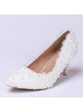 Women's Closed Toe Pumps Low Heel Lace Wedding Shoes