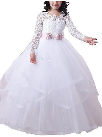 Scoop Neck Ball Gown Flower Girl Dresses Tulle Sash/Appliques Long Sleeves Floor-length