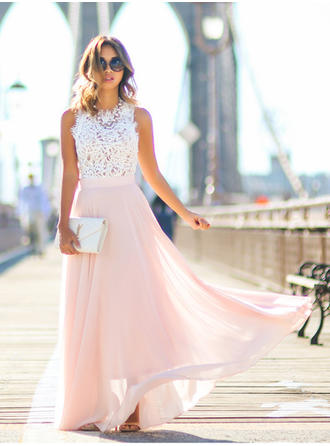 Chiffon Sleeveless A-Line/Princess Prom Dresses Scoop Neck Lace Floor-Length