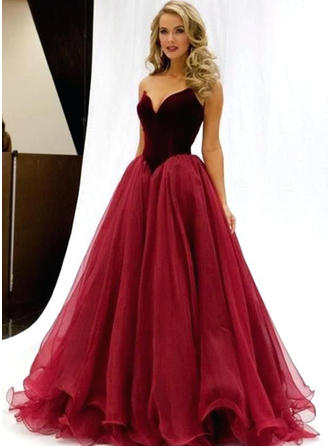 A-Line/Princess Sleeveless Tulle General Plus Prom Dresses