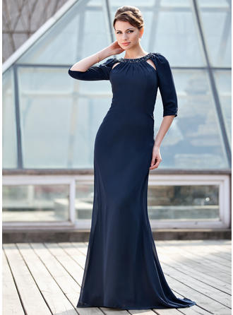 Chiffon 1/2 Sleeves Mother of the Bride Dresses Scoop Neck Trumpet/Mermaid Ruffle Beading Sweep Train