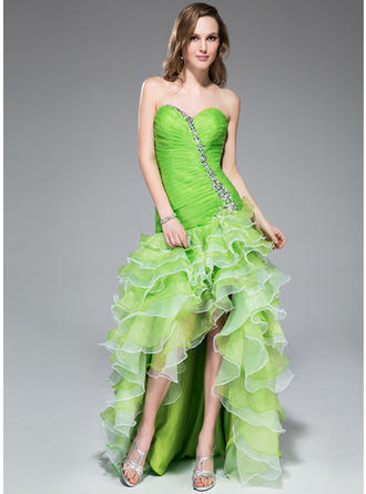 A-Line/Princess Organza Prom Dresses Luxurious Asymmetrical Sweetheart Sleeveless